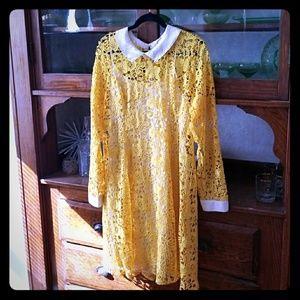 NWOT ModclothXL bright yellow flower crochet dress